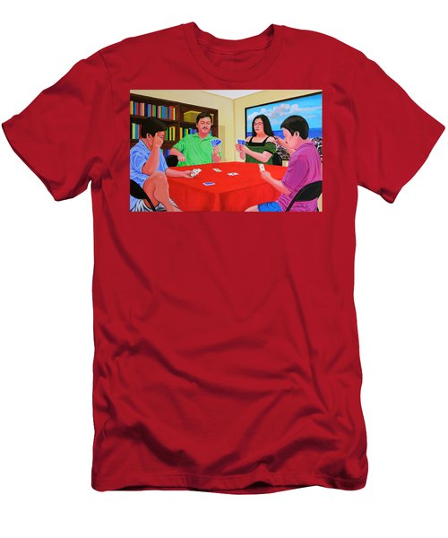 Three Men And A Lady Playing Cards Men's T-Shirt (Athletic Fit)