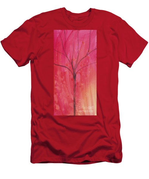 Men's T-Shirt (Slim Fit) featuring the painting Tree Of Three Pink by Robin Maria Pedrero