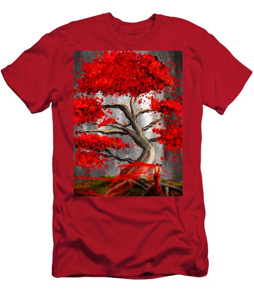 True Love Waits - Red And Gray Art Men's T-Shirt (Athletic Fit)
