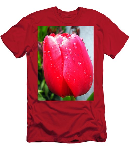 Men's T-Shirt (Slim Fit) featuring the photograph Tulip Flower Rain Drops by Colette V Hera  Guggenheim