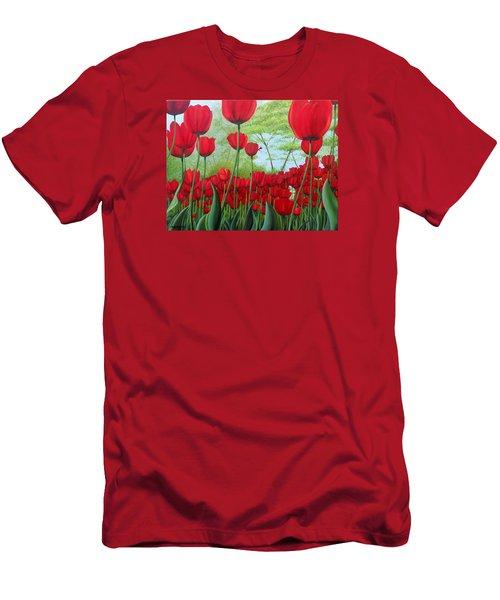 Tulipanes  Men's T-Shirt (Slim Fit) by Angel Ortiz