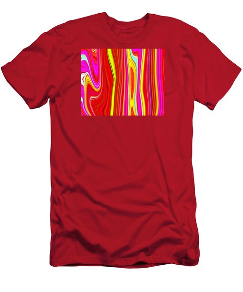 Men's T-Shirt (Slim Fit) featuring the painting Twiggy Stripes C2014 by Paul Ashby