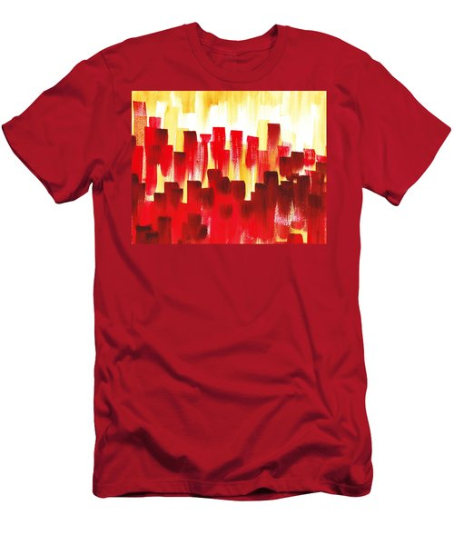 Men's T-Shirt (Slim Fit) featuring the painting Urban Abstract Red City Lights by Irina Sztukowski