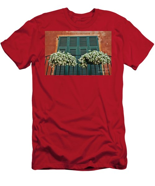 Men's T-Shirt (Slim Fit) featuring the photograph Venice Flower Balcony 2 by Allen Beatty