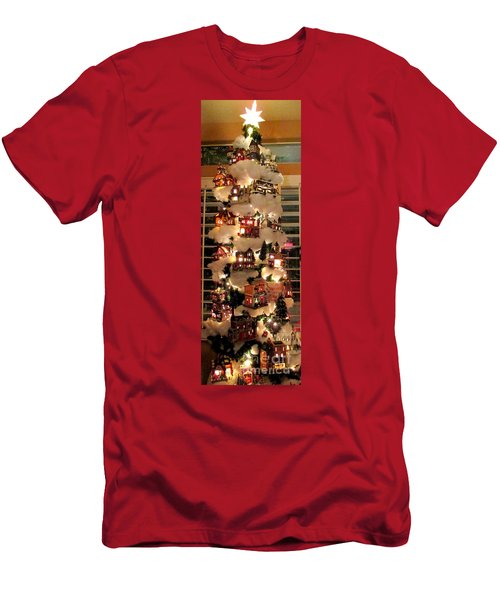Village Christmas Tree Men's T-Shirt (Slim Fit) by Randall Weidner
