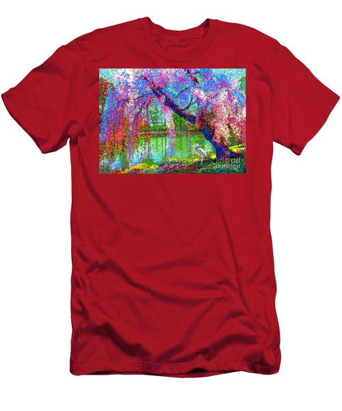 Weeping Beauty, Cherry Blossom Tree And Heron Men's T-Shirt (Athletic Fit)