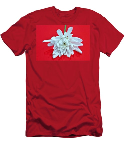 White Flower On Bright Red Background Men's T-Shirt (Athletic Fit)