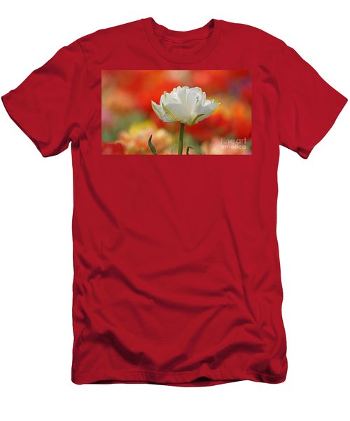 White Tulip Weisse Gefuellte Tulpe Men's T-Shirt (Athletic Fit)