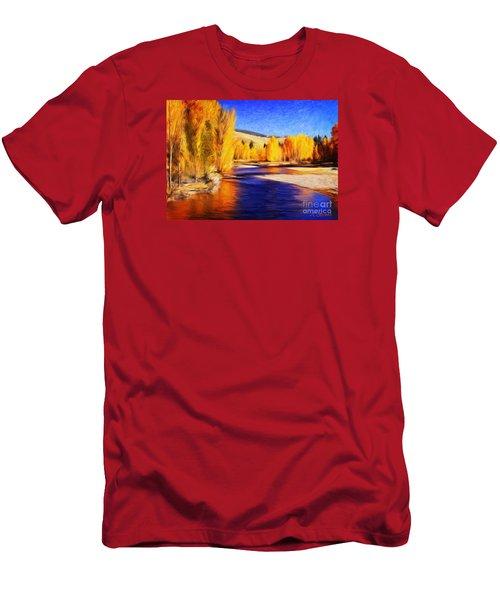 Yellow Bend In The River II Men's T-Shirt (Slim Fit) by Joseph J Stevens