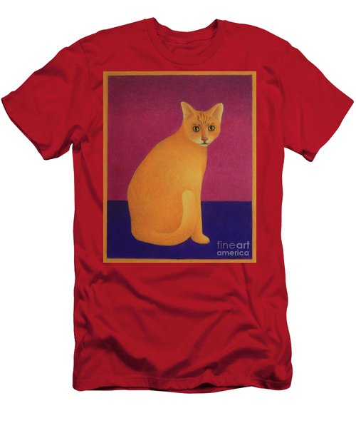 Men's T-Shirt (Slim Fit) featuring the painting Yellow Cat by Pamela Clements
