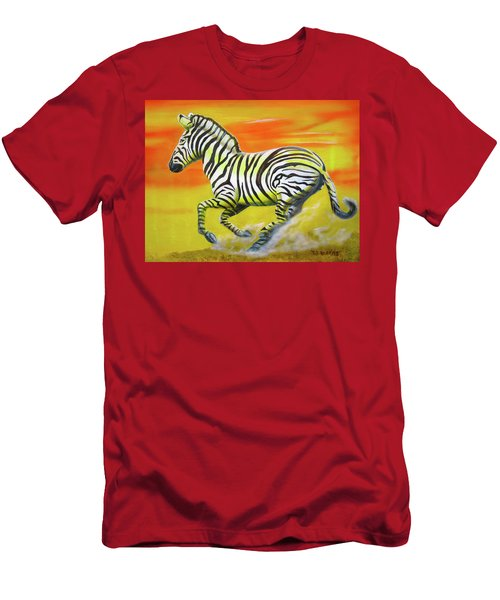 Zebra Kicking Up Dust Men's T-Shirt (Athletic Fit)