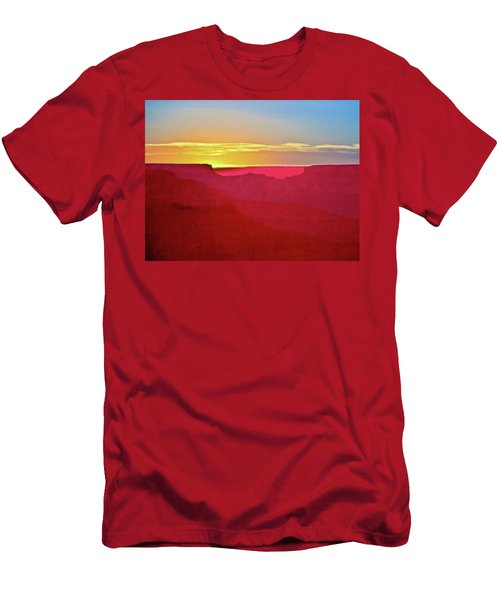 Men's T-Shirt (Slim Fit) featuring the painting   Sunset At Grand Canyon Desert View by Bob and Nadine Johnston