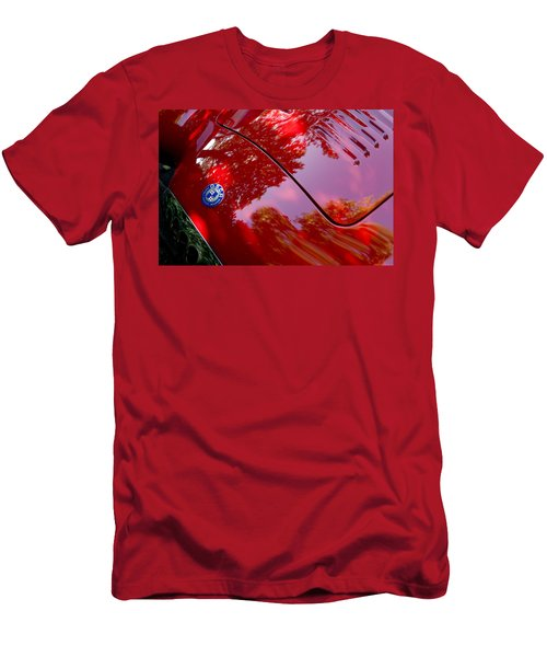 Men's T-Shirt (Athletic Fit) featuring the photograph 1954 O.s.c.a. Mt4 Maserati Hood Emblem by Jill Reger