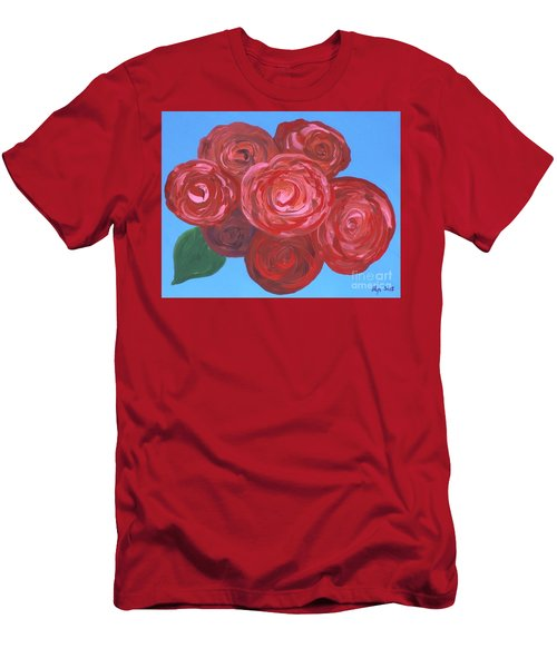 Men's T-Shirt (Slim Fit) featuring the painting Bouquet Of Roses by Alys Caviness-Gober