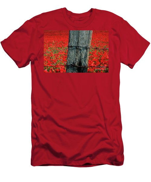 Field Of Poppies With A Wooden Post. Men's T-Shirt (Athletic Fit)