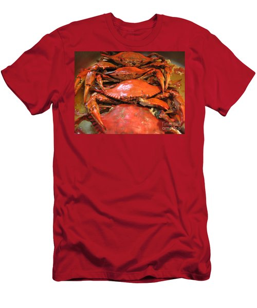 Men's T-Shirt (Slim Fit) featuring the photograph Crab Dinner Ocean Seafood  by Susan Carella