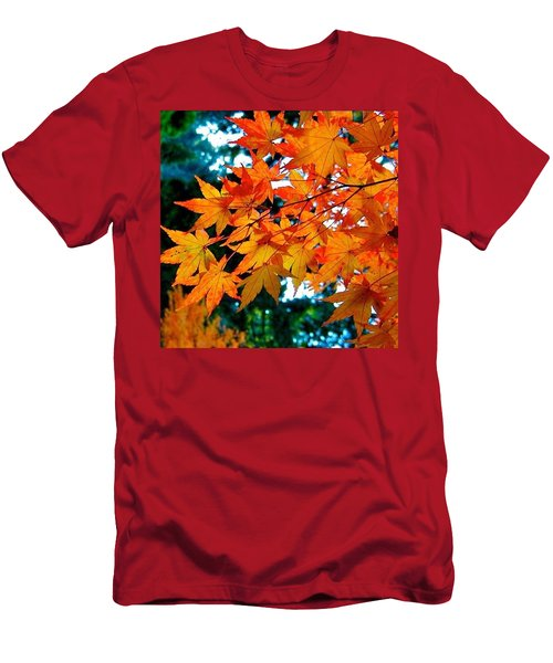Orange Maple Leaves Men's T-Shirt (Athletic Fit)