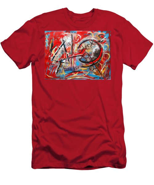 Men's T-Shirt (Slim Fit) featuring the painting Party At The Ranch by M Diane Bonaparte