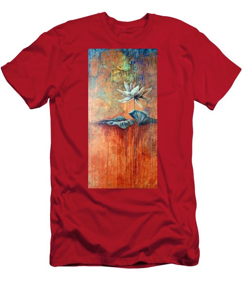 Men's T-Shirt (Athletic Fit) featuring the painting Patina Lotus by Ashley Kujan