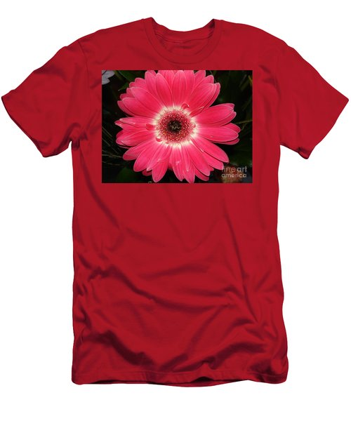 Men's T-Shirt (Slim Fit) featuring the photograph Pink Gerbera Daisy by Kerri Mortenson