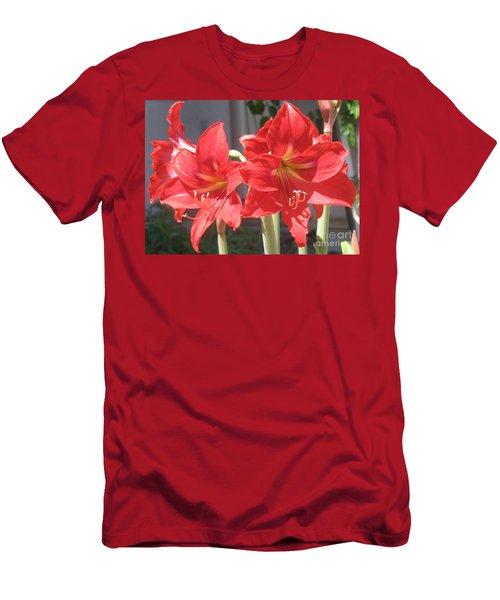 Men's T-Shirt (Slim Fit) featuring the photograph Red Amaryllis by Kume Bryant