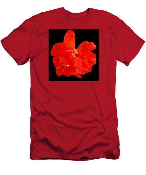 Red Hibiscus Men's T-Shirt (Slim Fit) by Cindy Manero