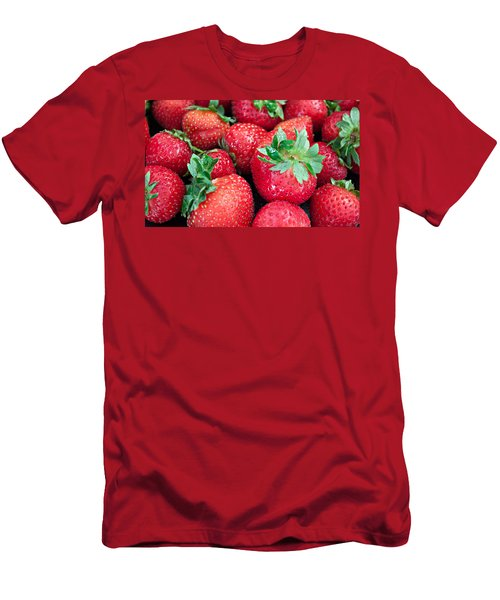 Men's T-Shirt (Slim Fit) featuring the photograph Strawberry Delight by Sherry Hallemeier