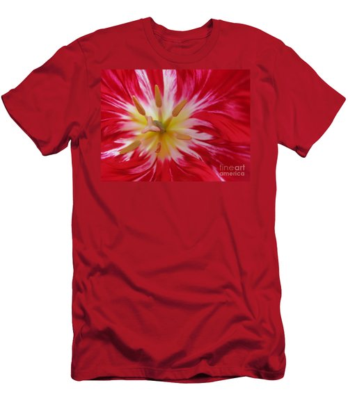 Striped Flaming Tulips. Hot Pink Rio Carnival Men's T-Shirt (Athletic Fit)