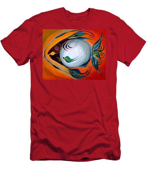 Teal Fish With Orange Men's T-Shirt (Athletic Fit)