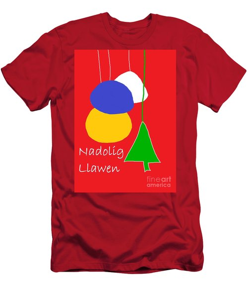 Welsh Christmas Card Men's T-Shirt (Slim Fit) by Barbara Moignard