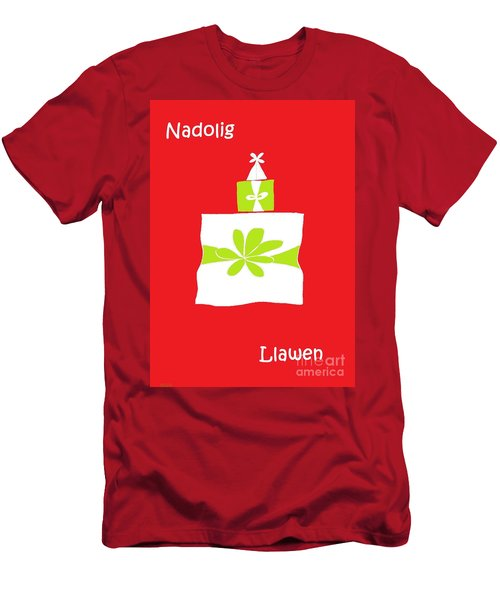 Men's T-Shirt (Slim Fit) featuring the digital art Welsh Merry Christmas Red by Barbara Moignard