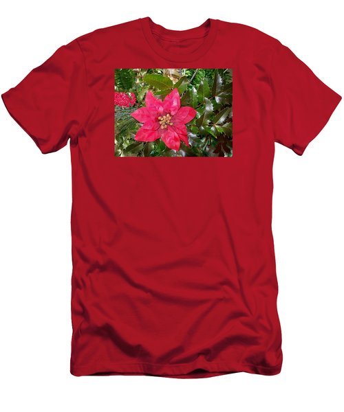 Men's T-Shirt (Slim Fit) featuring the photograph  Christmas Poinsettia by Sharon Duguay