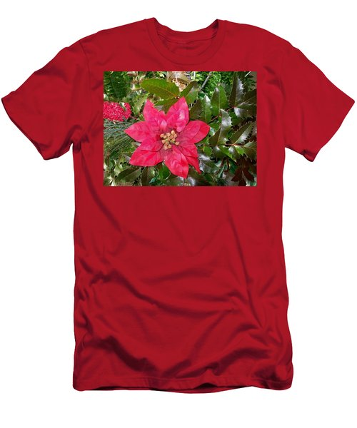 Christmas Poinsettia Men's T-Shirt (Athletic Fit)