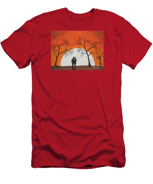 Men's T-Shirt (Slim Fit) featuring the painting  First Kiss by Jeffrey Koss