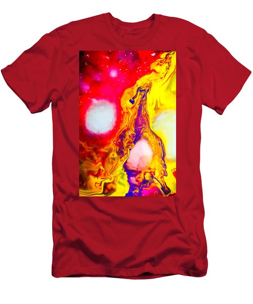 Giraffe In Flames - Abstract Colorful Mixed Media Painting Men's T-Shirt (Athletic Fit)