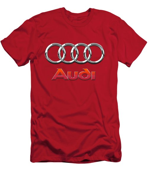 Audi - 3d Badge On Red Men's T-Shirt (Athletic Fit)