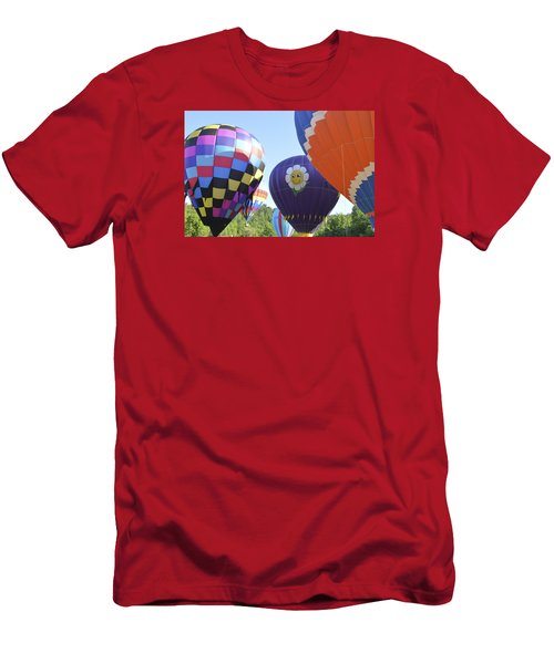 Balloons Waiting For The Weather To Clear Men's T-Shirt (Slim Fit) by Linda Geiger