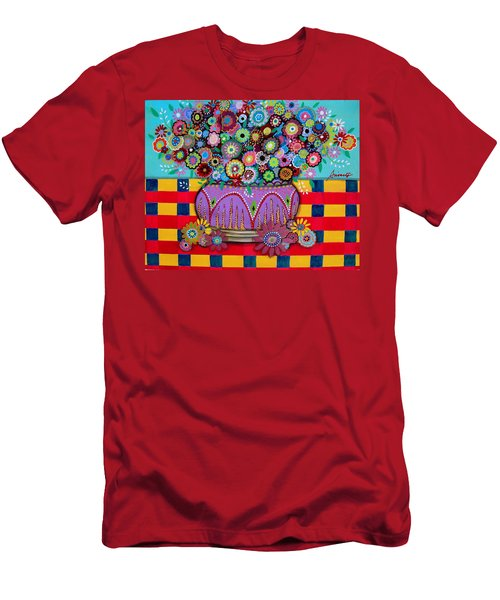 Men's T-Shirt (Slim Fit) featuring the painting Blooms by Pristine Cartera Turkus