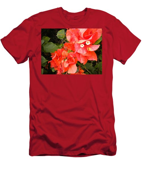 Men's T-Shirt (Slim Fit) featuring the painting Bouganvilla 1 by Renate Nadi Wesley