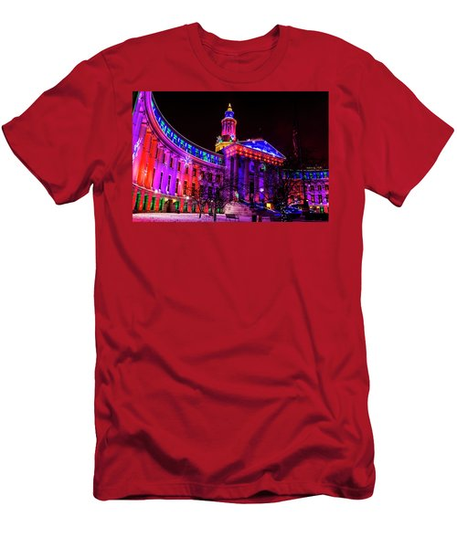 Denver City And County Building Holiday Lights Men's T-Shirt (Athletic Fit)