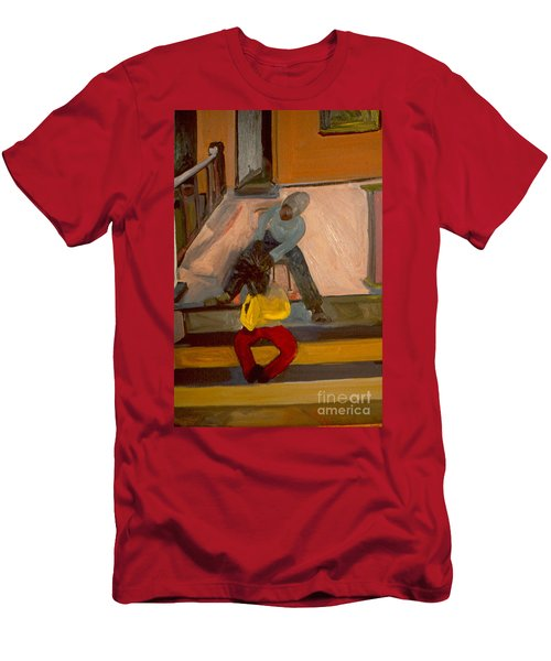 Men's T-Shirt (Slim Fit) featuring the painting Gettin Braids by Daun Soden-Greene