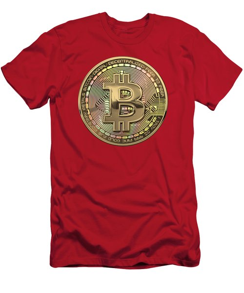 Gold Bitcoin Effigy Over Red Canvas Men's T-Shirt (Athletic Fit)