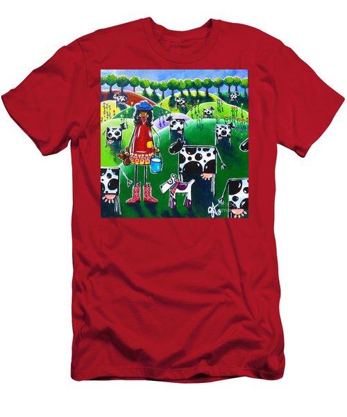 Moo Cow Farm Men's T-Shirt (Slim Fit) by Jackie Carpenter