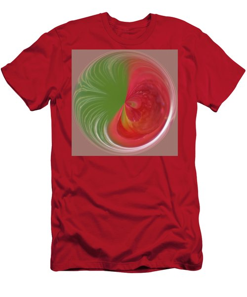 Men's T-Shirt (Athletic Fit) featuring the photograph Orb Image Of A Wild Red Columbine by Brenda Jacobs