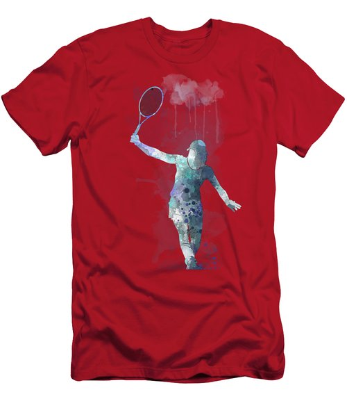Tennis Player Men's T-Shirt (Slim Fit) by Marlene Watson