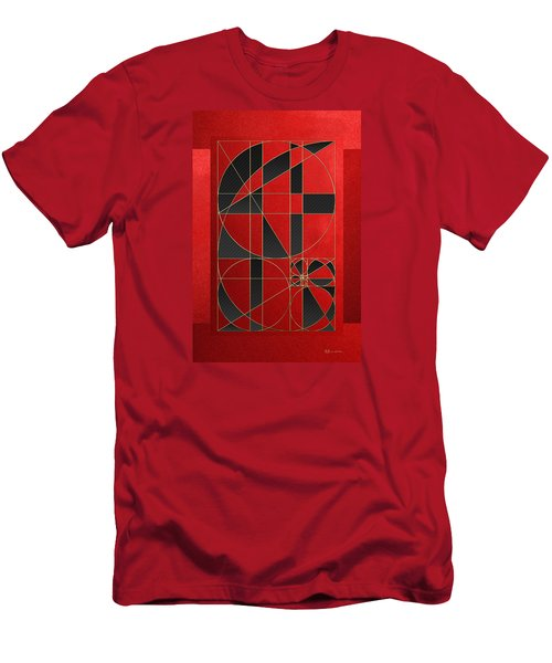 The Alchemy - Divine Proportions - Black On Red Men's T-Shirt (Slim Fit) by Serge Averbukh