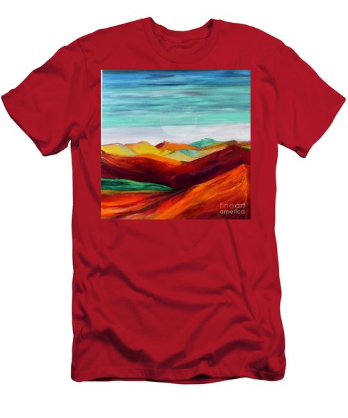Men's T-Shirt (Slim Fit) featuring the painting The Hills Are Alive by Kim Nelson
