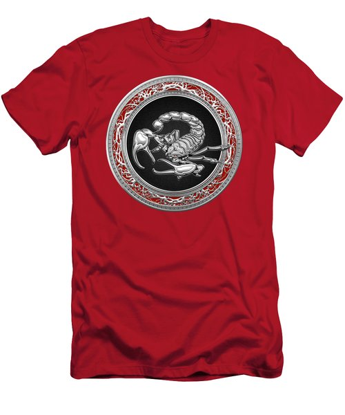 Treasure Trove - Sacred Silver Scorpion On Red Men's T-Shirt (Slim Fit) by Serge Averbukh