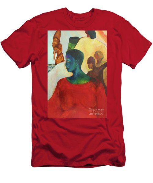 Men's T-Shirt (Slim Fit) featuring the painting Trickster by Daun Soden-Greene