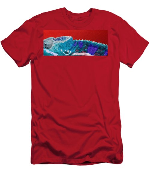 Turquoise Chameleon On Red Men's T-Shirt (Athletic Fit)